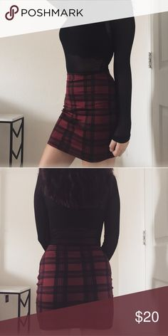 red plaid mini skirt Worn once, perfect condition. Size XS. Purchased from pretty little thing. Perfect for a sexy schoolgirl look or something a little edgier. No trades 🚫 pretty little thing Skirts Mini