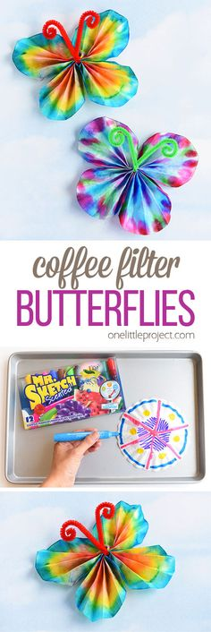 These classic coffee filter butterflies are SO EASY to make and look so beautiful! This is such a great summer craft idea for kids and a super fun activity for a rainy day! It's easy. It's relatively low mess. It's even a bit of a science experiment. Summer Crafts For Kids, Spring Crafts, Rainy Day Activities For Kids, Craft Ideas For Girls, Super Easy Crafts For Kids, Arts And Crafts For Kids Easy, Craft Kids, Crafts For Rainy Days, Summer Activities