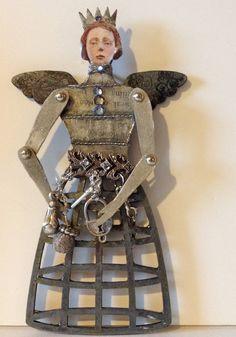 Santos  cage doll  small hanging santo gray color by DianaDDarden