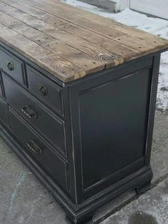 Painted Bassett Dresser - a more formal piece of furniture is given a rustic redo with a distressed black paint finish and a salvaged wood plank top - via Tattered Lantern - Amazing Interior Design Diy Decoupage Furniture, Refurbished Furniture, Paint Furniture, Repurposed Furniture, Shabby Chic Furniture, Furniture Projects, Rustic Furniture, Furniture Refinishing, Furniture Stores