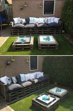Pallets Old Give old pallets a new life by turning them into patio furniture! - Turn pallets into a beautiful furniture set for your patio / outdoor living area. Pallet Patio Furniture, Diy Furniture, Outdoor Furniture Sets, Outdoor Decor, Pallet Couch, Outdoor Pallet, Outdoor Seating, Pallet Seating, Garden Furniture