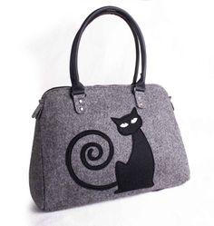 Women felt bag Cat bag Felt tote bag Felt handbag di volaris