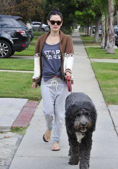Rachel Bilson Street Style - Walking Her Dog in LA, November 2015