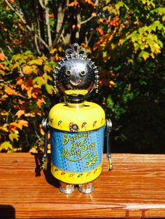 Robot robot sculpture metal sculpture by LovableLeftovers on Etsy