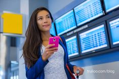 Travel woman using smartphone at airport. Young asian traveler checking boarding time with mobile phone app in terminal or train station. Tourist on vacation. Train Station, Fitbit, Identity, Photo Editing, Royalty Free Stock Photos, Smartphone, Vacation, Digital, Proposal