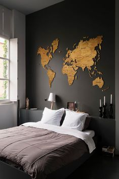 Wood Wall Art Wall Map of the World Map Christmas Gift Wooden Travel Push Pin Ma. - Wood Wall Art Wall Map of the World Map Christmas Gift Wooden Travel Push Pin Map Rustic Home A - Room Ideas Bedroom, Home Decor Bedroom, Living Room Decor, Mens Room Decor, Bedroom Wall Designs, Bedroom Sofa, Cozy Living Rooms, Living Room Bedroom, Dorm Room