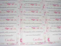 Tags agradecimento Batizado Floral Verde e rosa
