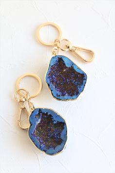 Glass Globe Amethyst Crystals  Keyring//Bag Charm