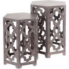 Features:  -Painted wood lattice end tables.  -Brown finish.  Shape: -Square.  Design: -Table/Nesting tables.  Style: -Traditional.  Top Finish: -Brown.  Base Finish: -Brown.  Base Material: -Solid Wo