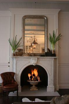 """Gardenfire"" - 19th garden urn made into gas fireplace insert.  On 1st Dibs."