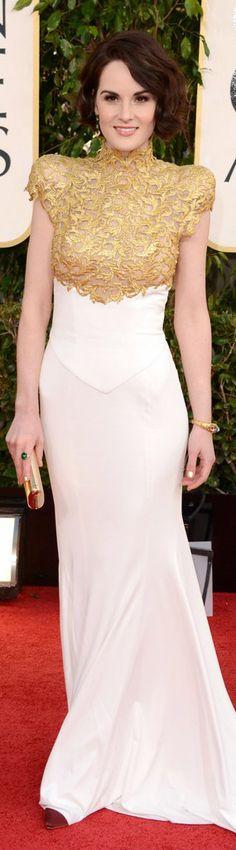 red carpet fashion long dress #gold #white