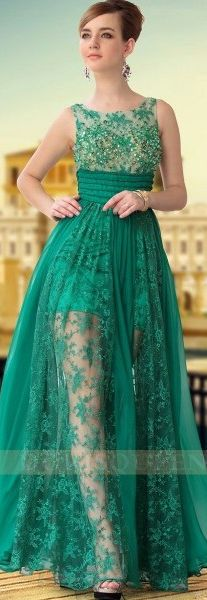 Long green transparent lace tulle formal evening gown - oh my!