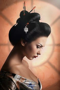 Picture of Portrait of a Japanese Geisha woman stock photo, images and stock photography. Japanese Geisha Tattoo, Japanese Tattoo Designs, Tattoo Oriental, Samurai, Geisha Hair, Memoirs Of A Geisha, Asian Tattoos, Portraits, Hanging Pictures