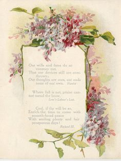 Lilac border, from Shakespeare book, c.1909.