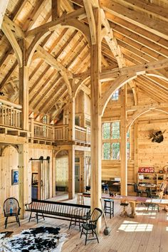 Two artists create a stunning and serene timber frame studio space in Asheville, North Carolina. Two artists create a stunning and serene timber frame studio space in Asheville, North Carolina. Rustic Home Design, Timber Frame Homes, Timber Frames, Log Homes, Barn Homes, Wood Construction, Asheville, Building A House, Building Homes