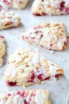 Raspberry Almond Scone Recipe on twopeasandtheirpod.com Perfect scones for breakfast, brunch, or tea time!