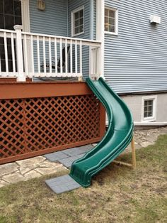 Cute idea for kids. Little slide right off the porch. This one for you mom!