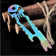 4ae7a037e72 Amazing Stainless Skull Edc Survival Pocket Tool Key Ring Chain Pry Bar  Bottle