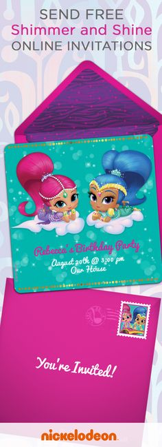 Are you planning a genie-themed Shimmer and Shine birthday party for your kid? Kick off your party planning with these online invitations featuring genie twins Shimmer and Shine. This is a magical option if you need a free, last-minute, paperless party hack for your kid's birthday party invites.