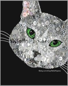 Button Art Cat Portrait Pet Portrait Button Kitty by BellePapiers