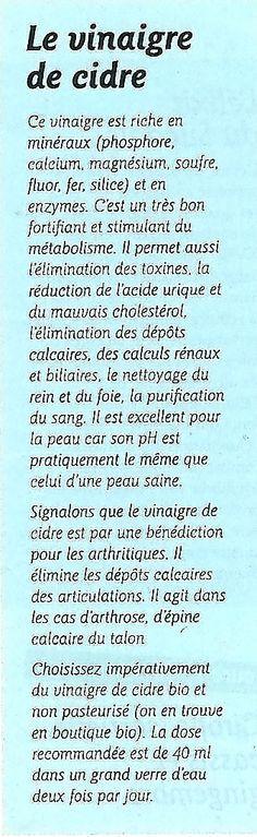 Les bienfaits du vinaigre de cidre. Source: Quelle Santé.