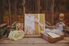 Elegant Blush & Gold Invitation with gold sparkle & blush pink ribbon details.