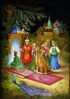 The Tale of Tsar Saltan fairy tale - Fedoskino miniature Culture Art, Box Icon, Russian Folk Art, Russian Style, Creation Photo, Russian Painting, Z Arts, Box Art, Oeuvre D'art