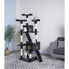Perfect for felines with a sense of adventure, this free-standing cat tree makes a must-have addition to the playroom or den.Gift your cat a place of its own with this Go Pet Club Cat Tree with Condo House. Cat Tree Condo, Cat Condo, Large Cat Tree, Cat Toilet Training, Litter Box Enclosure, Cat Perch, Cat Scratcher, Pet Furniture, Fashion Designer