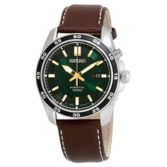 Seiko Men's Kinetic Brown Leather Watch Size: One Size Fits All Cool Watches, Watches For Men, Brown Leather Watch, Black Leather, Seiko Men, Christmas Gifts For Boyfriend, Best Watch Brands, Brown Band, Online Watch Store