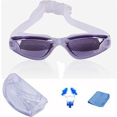 MAYMII Swim Goggles for Men Women Youth UV Anti Fog Adult Swimming Goggles Free Swimming Ear Plugs and Nose Clip Combo Protection Case Purple * Learn more by visiting the image link.Note:It is affiliate link to Amazon. #TrendySwim