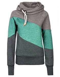 Womens Funnel Cowl Neck Thick Solid Hooded Pullover Lady Colockblock Long Sleeve Hoodies Sweatshirt Coat -- Check out the image by visiting the link.