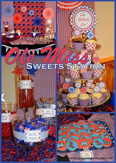 Maybe one day...if my girls follow in their mom's family footsteps we can have one of these...Ole Miss themed graduation party by GreyGrey Designs of Memphis. Hotty Toddy :)