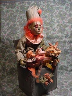 Norma DeCamp vintage type clown jack in the box, red hair, 5 jointed animals,