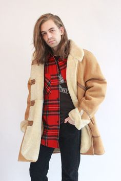 Vintage 90s Brown Suede Sheepskin Coa by WastelandVintageUK on Etsy