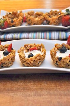 Granola cups with yogurt and berries. Perfect Easter brunch idea. Easy breakfast idea for the kids.