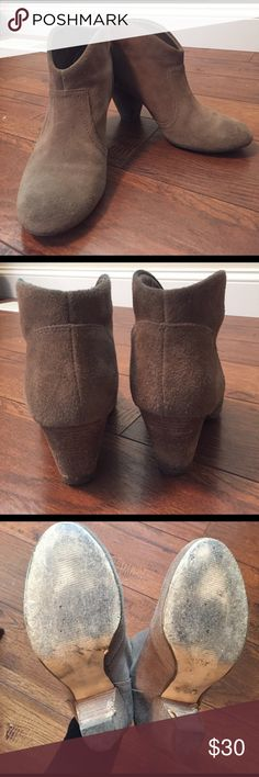 Tan ankle booties Cute and comfortable tan ankle booties. Material is a tan leather soft leather. Worn condition, but still have a lot of life left. Some minor flaws on the heel. See pics Carlos Santana Shoes Ankle Boots & Booties