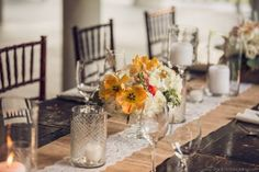 Sweetgrass Social wedding at Magnolia Plantation. Michelle & Josh. Rustic table scape with yellow flowers and burlap and lace table runner.
