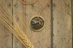 Celtic Dog Lover Necklace | Scottish Deerhound | Irish Bloodhound | Stoneware Pendant | Tribal Dog Saint Relic | Atelier Art Jewelry Design by AmbientAtelier on Etsy