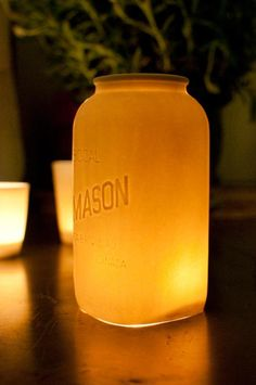 DIY Mason jar hurricane lanterns--patio or walkway lights