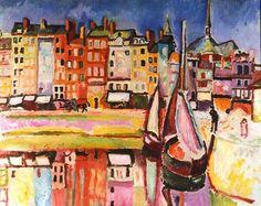 Raoul Dufy Vieilles maisons sur le bassin de Honfleur