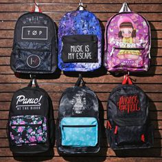 Get school'd in music // Assorted Backpacks Twenty One Pilots, Melanie Martinez, Panic! At The Disco, Fall Out Boy, Pierce The Veil