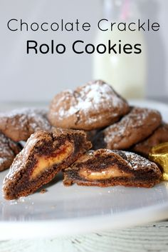 Chocolate Crackle Rolo Cookies