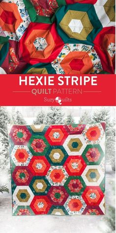 Hexie Stripe quilt pattern from Suzyquilts.com is perfect for those who love color and those who love fabric. With 9 different fabrics to mix and match you can make this modern quilt look wildly different simply based on your mood or preference. #christmasquiltpattern #holidaysewing #modernquilting Diy Christmas Quilt, Christmas Quilting Projects, Christmas Patchwork, Christmas Quilt Patterns, Christmas Sewing, Stripe Quilt Pattern, Striped Quilt, Hexagon Quilt, Beginner Quilt Patterns
