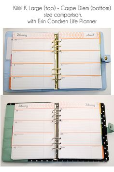 I am making this photo series to compare the sizes of Kikki K Large to Carpe Diem Planner. Inserts are Erin Condren life Planner. Picture 1: In Kikki K, ECLP tabs and inserts are out a little bit, …