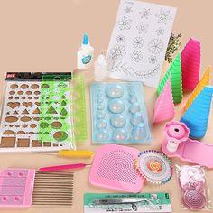 19Pcs DIY Paper Quilling Tools Set Template Tweezer Pins Slotted Tool Kit Handmade Paper Card Crafts Decorating Tools