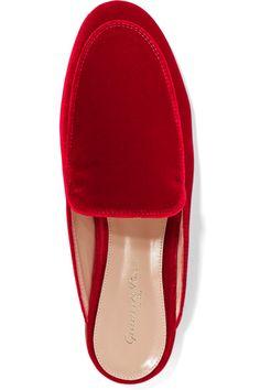 Gianvito Rossi - Velvet Slippers - Red - IT36.5