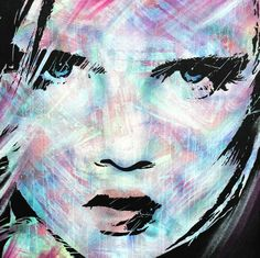 ARTFINDER: Over Here by Benjamin McKay - Painting of a girls face in Spray Paint and Acrylic with paint markers on deep edge canvas.