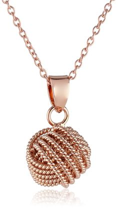 """Amazon.com: Sterling Silver Rose Gold-Plated """"Love Knot"""" Pendant Necklace, 18"""": Jewelry"""