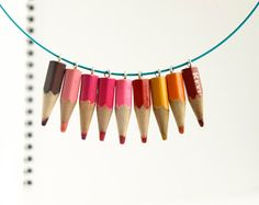 Pinks, colorful pencil choker necklace, whimsical jewelry