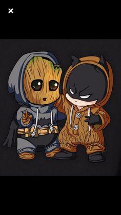 Chibi Batman and baby Groot - Sup? Chibi Batman and baby Groot - Cute Disney Drawings, Cute Animal Drawings, Kawaii Drawings, Cute Drawings, Cute Disney Wallpaper, Cute Cartoon Wallpapers, Humor Batman, Batman Batman, Funny Batman